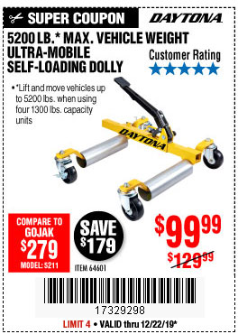 Harbor Freight Tools Coupons, Harbor Freight Coupon, HF Coupons-5200 Lb. Ultra-mobile Self-loading Vehicle Dolly