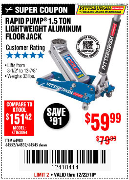 Harbor Freight Tools Coupons, Harbor Freight Coupon, HF Coupons-Pittsburgh Rapid Pump 1.5 Ton Lightweight Aluminum Floor Jack