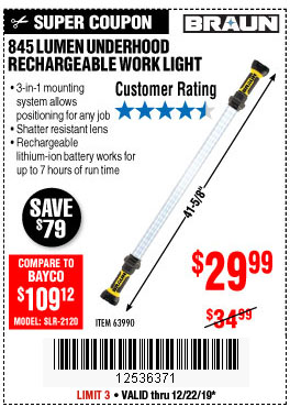 Harbor Freight Tools Coupons, Harbor Freight Coupon, HF Coupons-845 Lumen Underhood Rechargeable Work Light