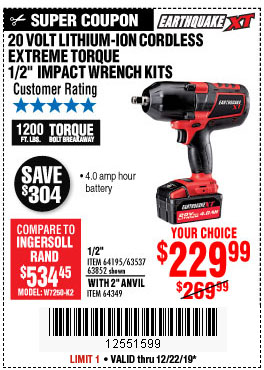 Harbor Freight Tools Coupons, Harbor Freight Coupon, HF Coupons-Earthquake Xt 20 Volt Cordless Extreme Torque 1/2