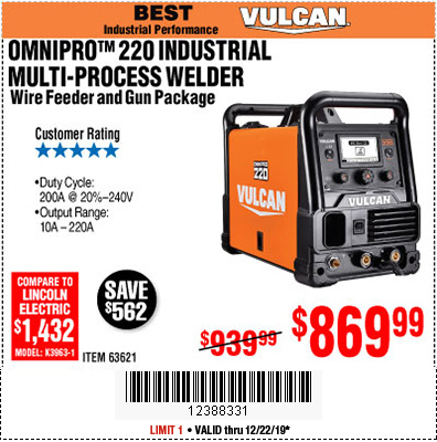 Harbor Freight Tools Coupons, Harbor Freight Coupon, HF Coupons-Vulcan Omnipro 220 Multiprocess Welder With 120/240 Volt Input