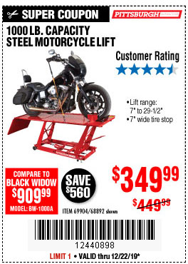 Harbor Freight Tools Coupons, Harbor Freight Coupon, HF Coupons-1000 Lb. Capacity Motorcycle Lift