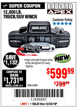 Harbor Freight Tools Coupons, Harbor Freight Coupon, HF Coupons-Badland Apex 12,000 Lb. Truck/suv Winch