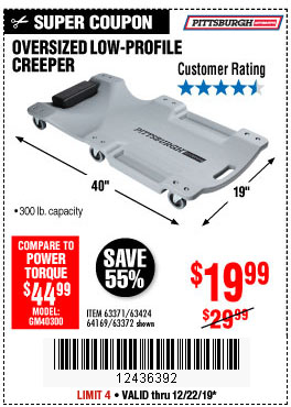 Harbor Freight Tools Coupons, Harbor Freight Coupon, HF Coupons-Low-profile Creeper