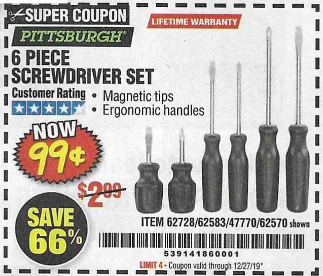 Harbor Freight Tools Coupons, Harbor Freight Coupon, HF Coupons-6 Piece Screwdriver Set