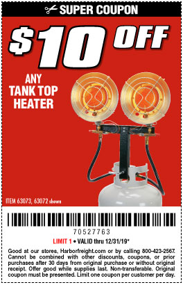 Harbor Freight Tools Coupons, Harbor Freight Coupon, HF Coupons-15,000 Btu Tank Top Propane Heater