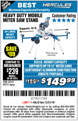 Harbor Freight Tools Coupons, Harbor Freight Coupon, HF Coupons-Hercules Heavy Duty Mobile Miter Saw Stand