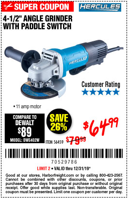 Harbor Freight Tools Coupons, Harbor Freight Coupon, HF Coupons-Hercules 4-1/2