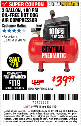 Harbor Freight Tools Coupons, Harbor Freight Coupon, HF Coupons-3 Gal. 1/3 Hp 100 Psi Oil-free Hotdog Air Compressor