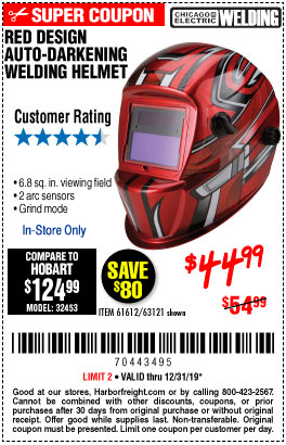 Harbor Freight Tools Coupons, Harbor Freight Coupon, HF Coupons-Auto-darkening Welding Helmet With Racing Stripe Design