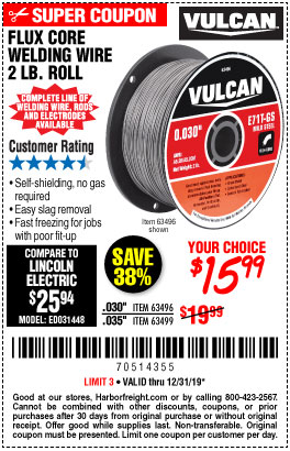 Harbor Freight Tools Coupons, Harbor Freight Coupon, HF Coupons-Flux Core Welding Wire