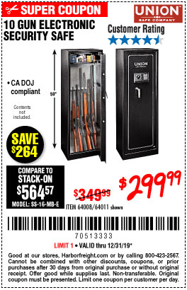 Harbor Freight Tools Coupons, Harbor Freight Coupon, HF Coupons-10 Gun Electronic Security Safe