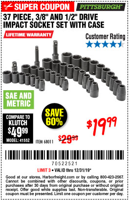 Harbor Freight Tools Coupons, Harbor Freight Coupon, HF Coupons-37 Piece 3/8