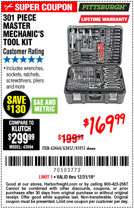 Harbor Freight Tools Coupons, Harbor Freight Coupon, HF Coupons-301 Piece Master Mechanic's Tool Kit