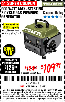 Harbor Freight Tools Coupons, Harbor Freight Coupon, HF Coupons-Tailgator 900 Peak / 700 Running Watts, 2hp (63cc) 2 Cycle Gas Generator Epa/carb