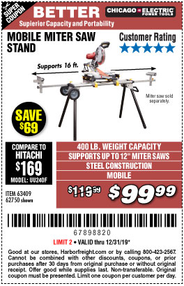 Harbor Freight Tools Coupons, Harbor Freight Coupon, HF Coupons-Heavy Duty Mobile Miter Saw Stand