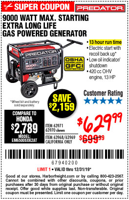 Harbor Freight Tools Coupons, Harbor Freight Coupon, HF Coupons-9000 Peak / 7250 Running Watts, 13 Hp (420 Cc) Gas Generator