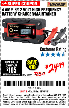 Harbor Freight Tools Coupons, Harbor Freight Coupon, HF Coupons-4 Amp Fully Automatic Microprocessor Controlled Battery Charger/maintainer