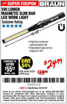 Harbor Freight Tools Coupons, Harbor Freight Coupon, HF Coupons-Braun 390 Lumen Slim Bar Folding Led Worklight