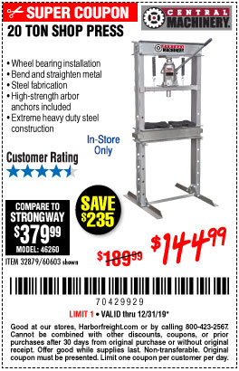 Harbor Freight Tools Coupons, Harbor Freight Coupon, HF Coupons-20 Ton Shop Press