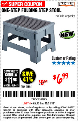 Harbor Freight Tools Coupons, Harbor Freight Coupon, HF Coupons-Franklin One-step Folding Step Stool