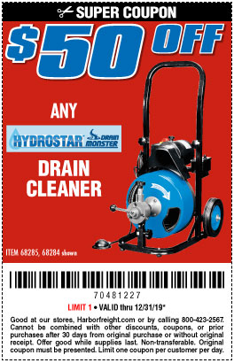 Harbor Freight Tools Coupons, Harbor Freight Coupon, HF Coupons-50 Ft. Commercial Power-feed Drain Cleaner