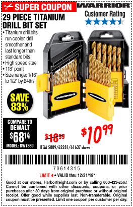 Harbor Freight Tools Coupons, Harbor Freight Coupon, HF Coupons-29 Piece Titanium Drill Bit Set