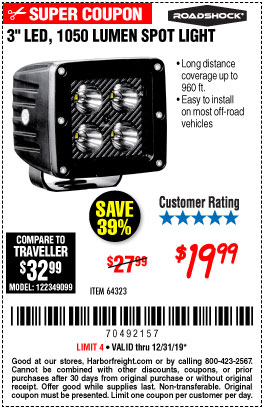 Harbor Freight Tools Coupons, Harbor Freight Coupon, HF Coupons-Roadshock 965 Lumens 3