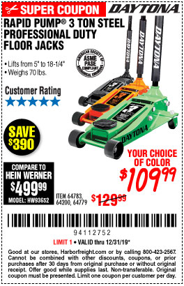 Harbor Freight Tools Coupons, Harbor Freight Coupon, HF Coupons-Daytona 3 Ton Heavy Duty Floor Jack