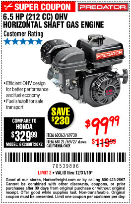 Harbor Freight Tools Coupons, Harbor Freight Coupon, HF Coupons-6.5 Hp (212 Cc) Ohv Horizontal Shaft Gas Engines