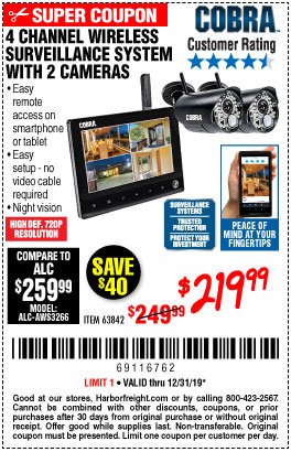 Harbor Freight Tools Coupons, Harbor Freight Coupon, HF Coupons-4 Channel Wireless Surveillance System With 2 Cameras