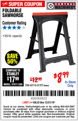 Harbor Freight Tools Coupons, Harbor Freight Coupon, HF Coupons-350 Lb. Capacity Folding Sawhorse