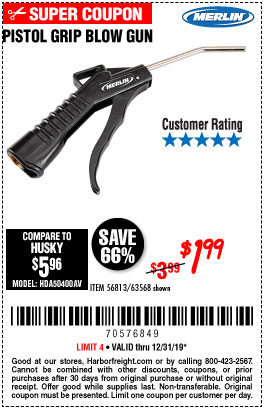 Harbor Freight Tools Coupons, Harbor Freight Coupon, HF Coupons-Pistol Grip Blow Gun