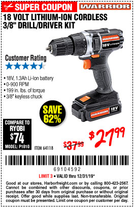 Harbor Freight Tools Coupons, Harbor Freight Coupon, HF Coupons-18 Volt Lithium Cordless 3/8