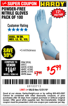 Harbor Freight Tools Coupons, Harbor Freight Coupon, HF Coupons-5 Mil Nitrile Gloves 100/pk