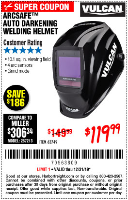 Harbor Freight Tools Coupons, Harbor Freight Coupon, HF Coupons-Vulcan Arcsafe Auto-darkening Welding Helmet