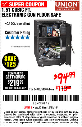 Harbor Freight Tools Coupons, Harbor Freight Coupon, HF Coupons-1.51 Cubic Ft. Lock Gun Floor Safe