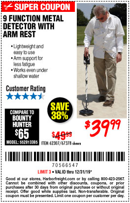 Harbor Freight Tools Coupons, Harbor Freight Coupon, HF Coupons-9 Function Metal Detector With Arm Rest