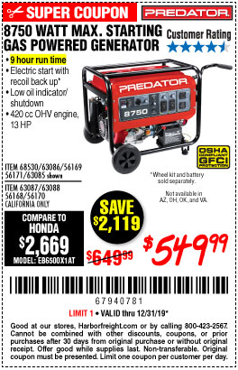 Harbor Freight Tools Coupons, Harbor Freight Coupon, HF Coupons-8750 Peak / 7000 Running Watts 13 Hp (420 Cc) Gas Generator