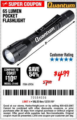 Harbor Freight Tools Coupons, Harbor Freight Coupon, HF Coupons-65 Lumens Pocket Flashlight