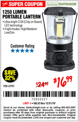 Harbor Freight Tools Coupons, Harbor Freight Coupon, HF Coupons-1250 Lumens Portable Lantern