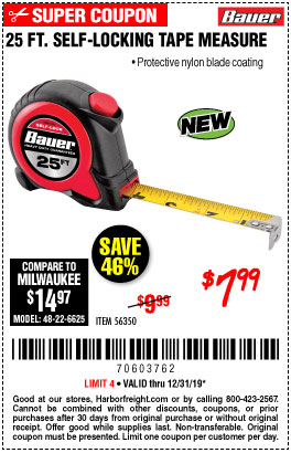 Harbor Freight Tools Coupons, Harbor Freight Coupon, HF Coupons-25 Ft. Self-locking Tape Measure