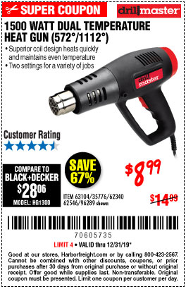 Harbor Freight Tools Coupons, Harbor Freight Coupon, HF Coupons-1500 Watt Dual Temperature Heat Gun (572/1112)