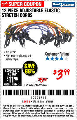 Harbor Freight Tools Coupons, Harbor Freight Coupon, HF Coupons-12 Peice Adjustable Elastic Stretch Cords