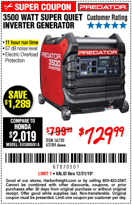 Harbor Freight Tools Coupons, Harbor Freight Coupon, HF Coupons-Predator 3500 Watt Super Quiet Inverter Generator