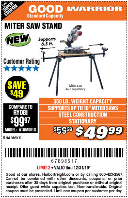 Harbor Freight Tools Coupons, Harbor Freight Coupon, HF Coupons-Warrior Universal Folding Miter Saw Stand
