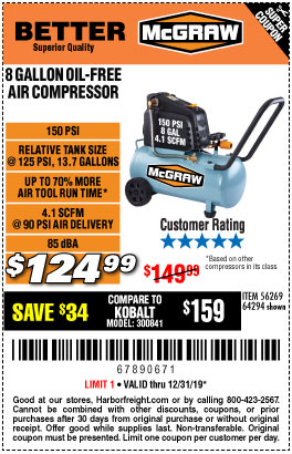 Harbor Freight Tools Coupons, Harbor Freight Coupon, HF Coupons-Mcgraw 150 Psi, 8 Gallon, 1.5 Hp Horizontal Compressor