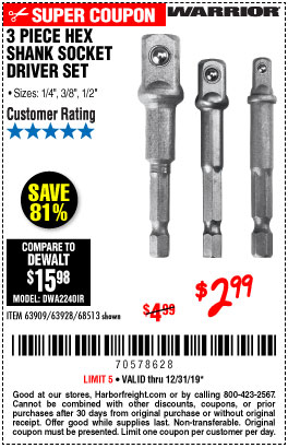 Harbor Freight Tools Coupons, Harbor Freight Coupon, HF Coupons-3 Piece Hex Drill Socket Driver Set