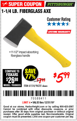 Harbor Freight Tools Coupons, Harbor Freight Coupon, HF Coupons-1-1/4 Lb. Axe With 11-1/2