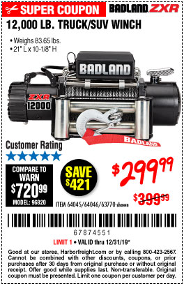 Harbor Freight Tools Coupons, Harbor Freight Coupon, HF Coupons-12,000 Lb. Truck/suv Winch